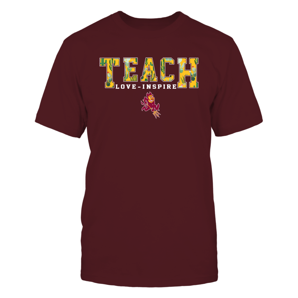 Arizona State Sun Devils - Teacher-Teach-Love-Inspire-Cactus-Pattern-IF-IC13-DS85 Front picture