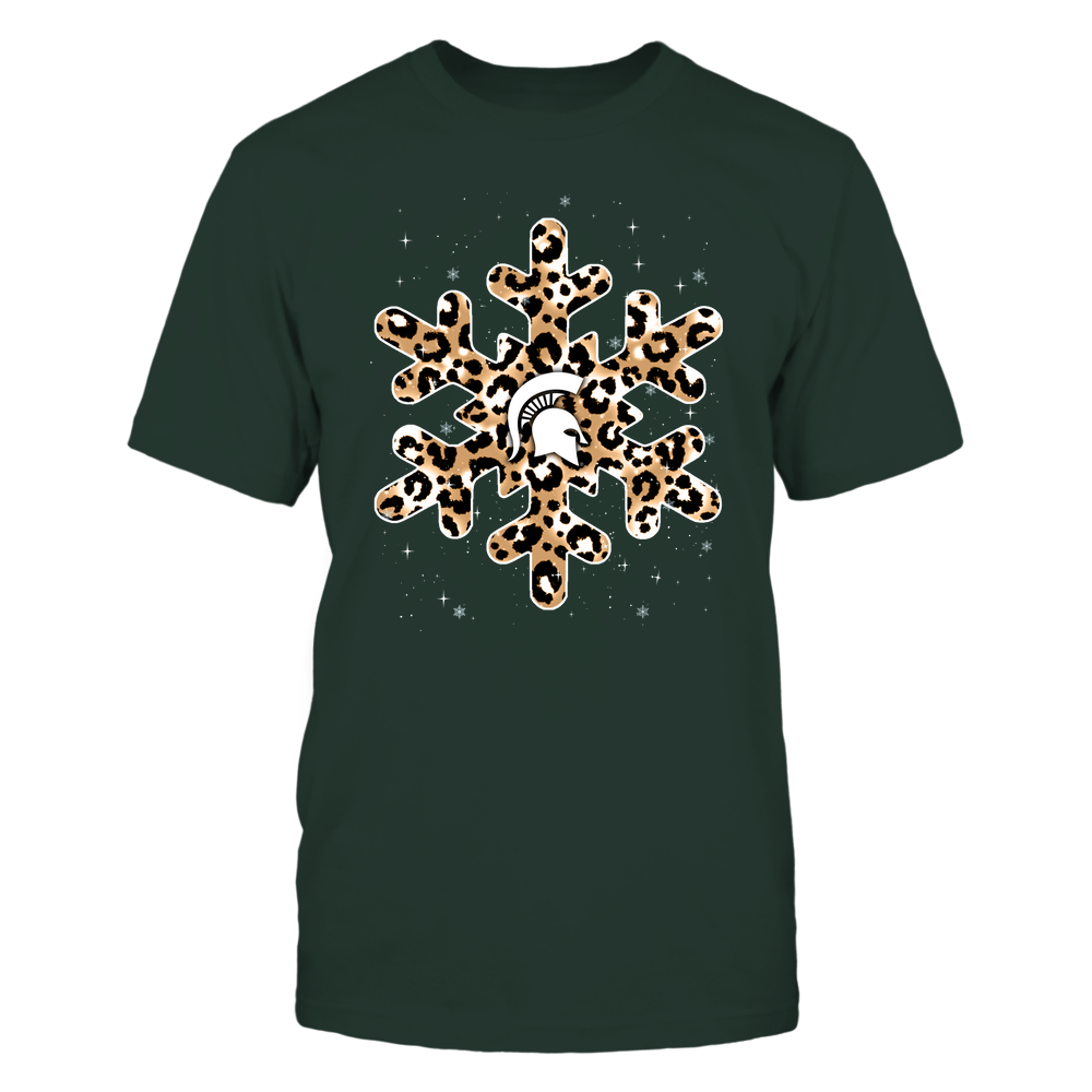 Michigan State Spartans - Christmas-Leopard-Pattern-Snowflake-IF13-IC13-DS64 Front picture