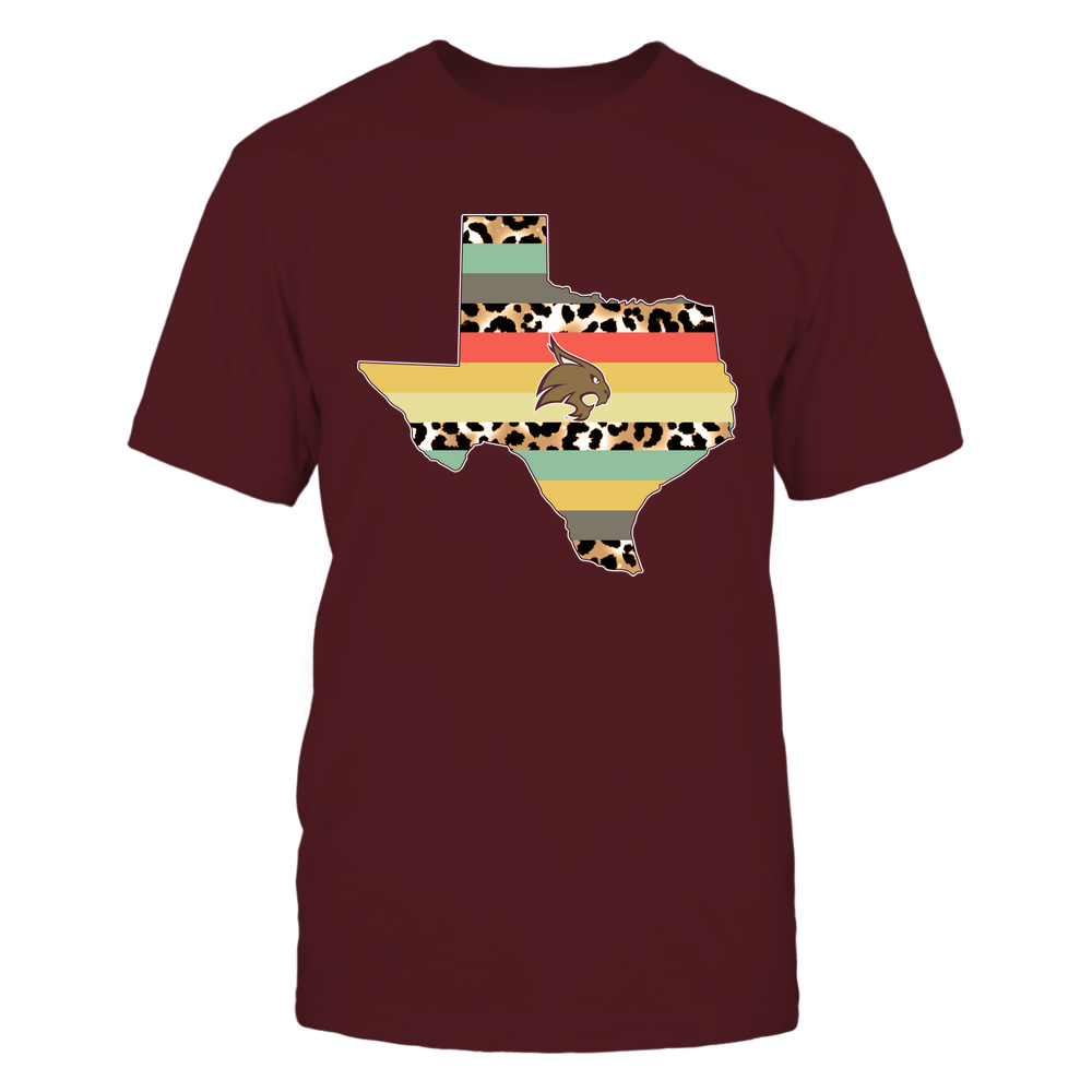 Texas State Bobcats - Leopard-Vintage-Graphic-State-Map-IF13-IC13-DS29 Front picture