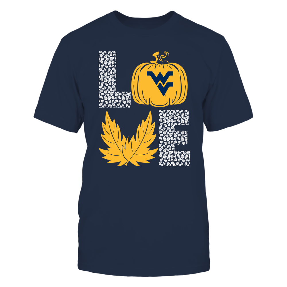 West Virginia Mountaineers - Stacked Love  - Fall - Leaf Pumpkin Front picture