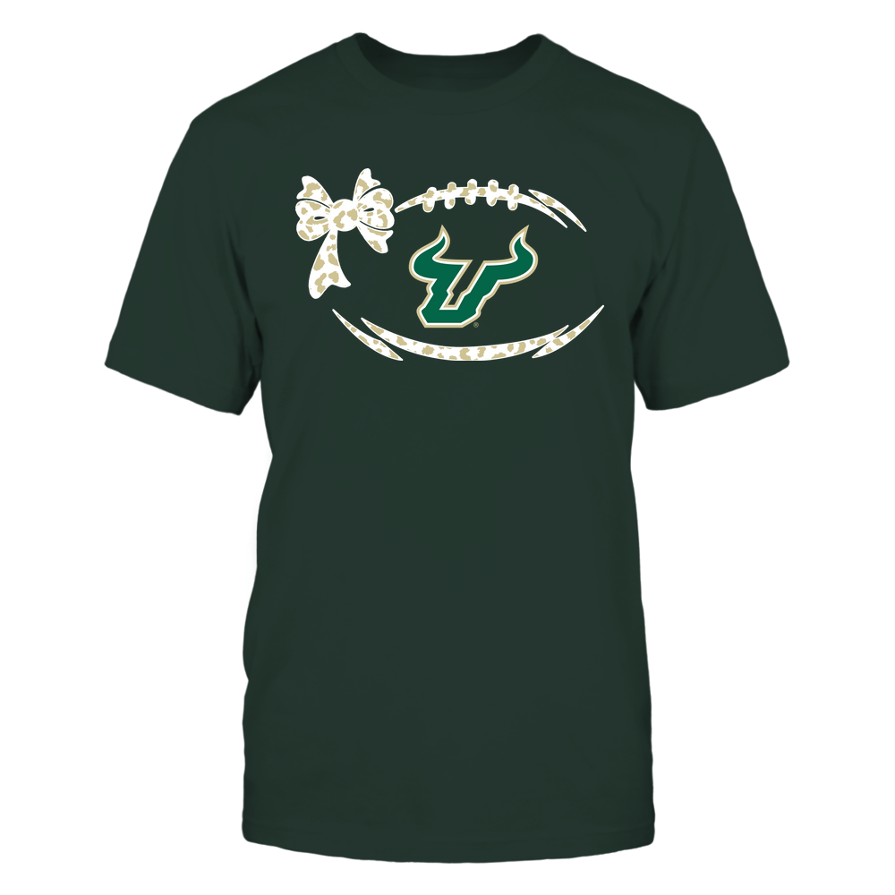 South Florida Bulls - Football Bow - Leopard Pattern Front picture