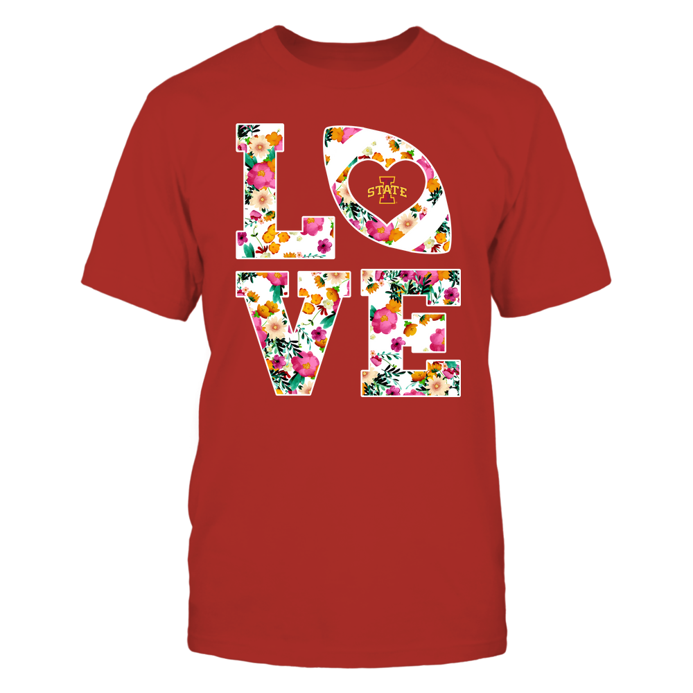 Iowa State Cyclones - Stacked Love Football - Full Color Floral Pattern - Team Front picture