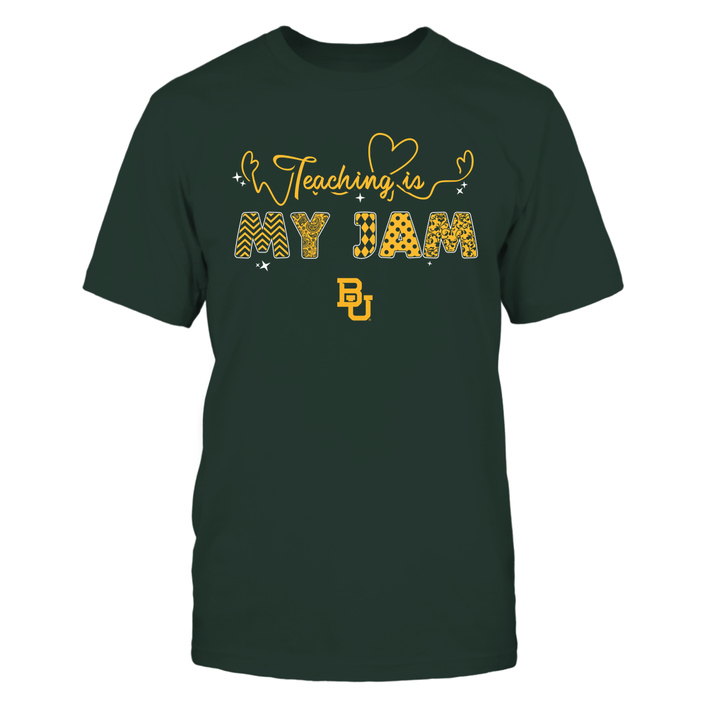 Baylor Bears - Teacher - Teaching Is My Jam - Heart Beat Pattern Front picture