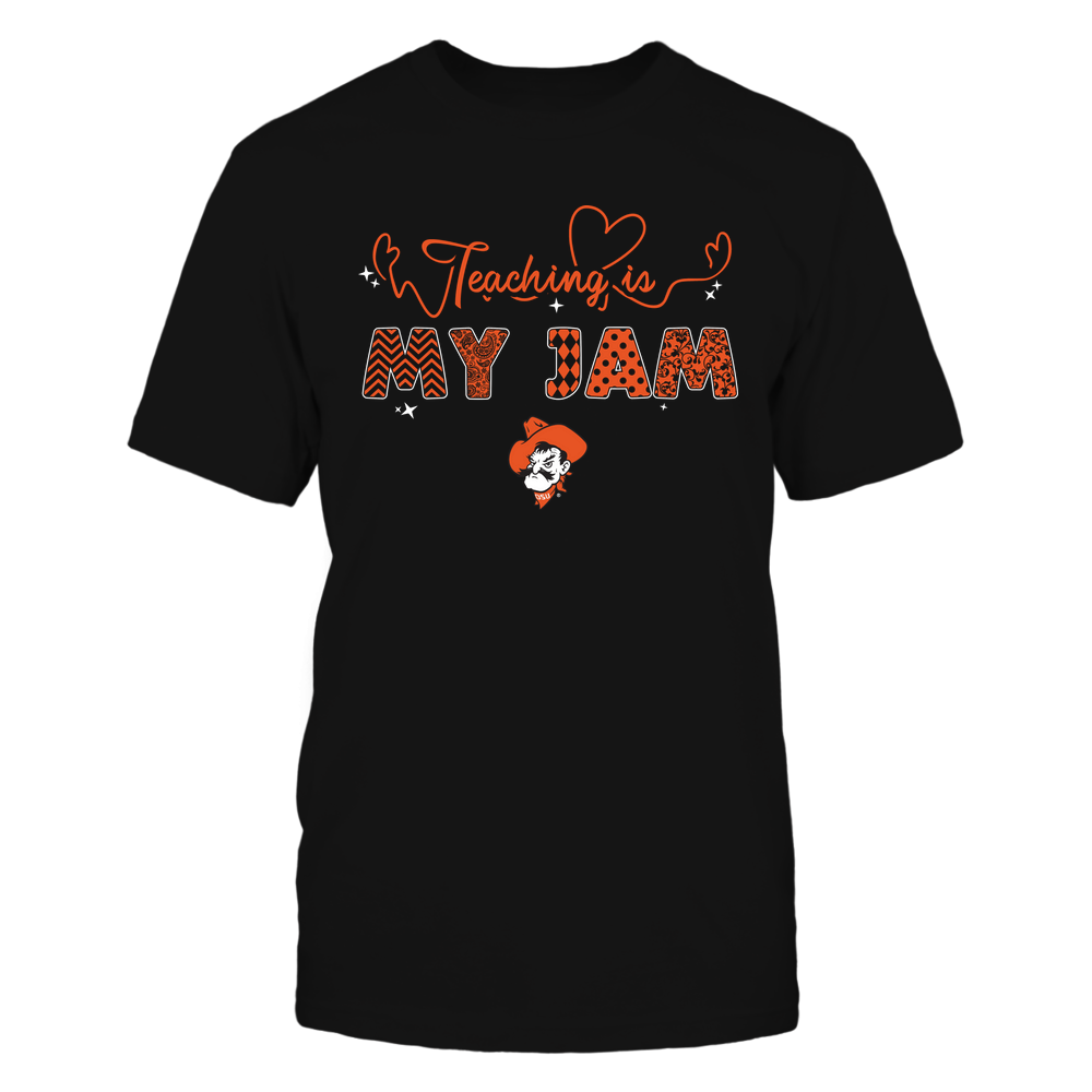 Oklahoma State Cowboys - Teacher - Teaching Is My Jam - Heart Beat Pattern Front picture