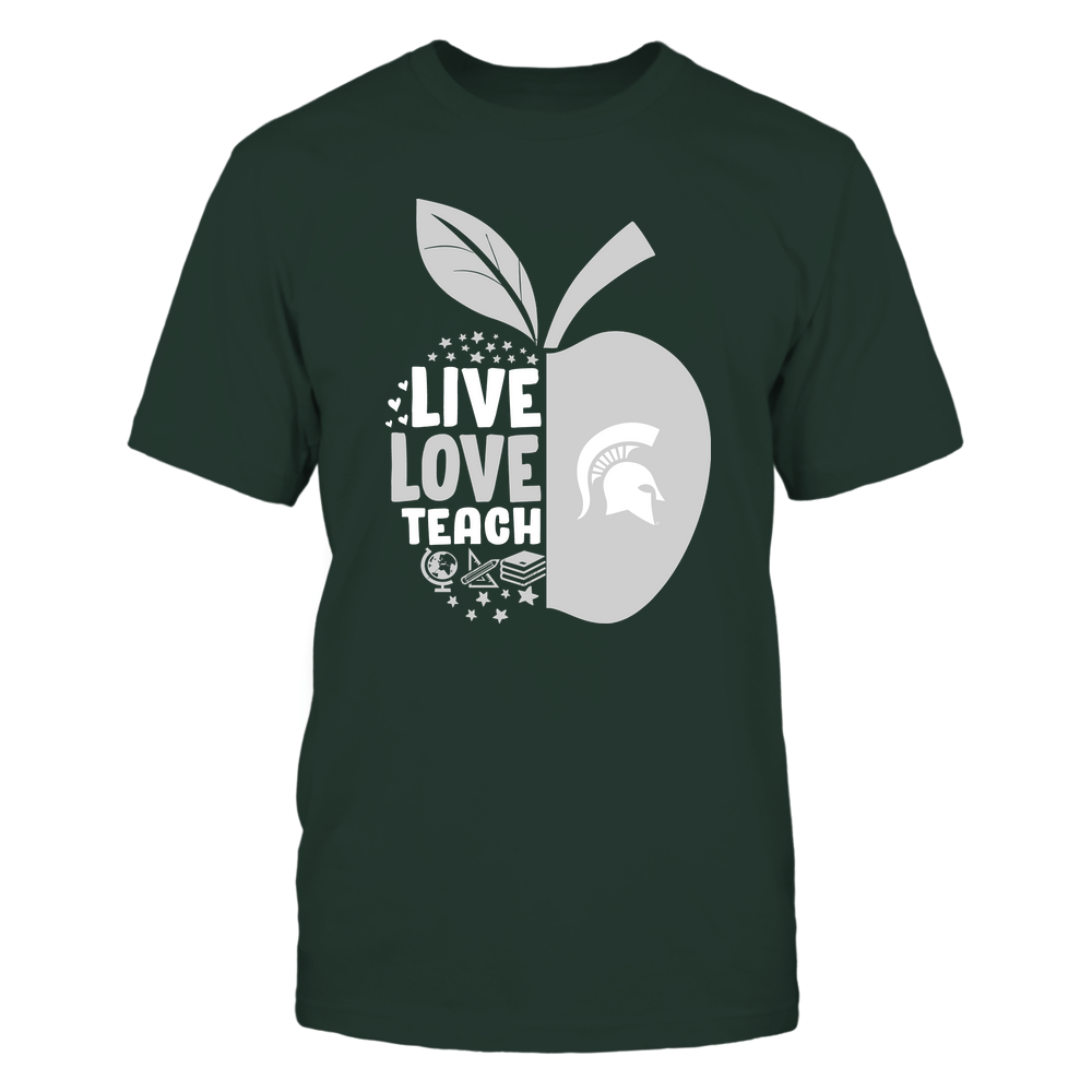 Michigan State Spartans - Teacher Apple - Live Love Teach - Team Front picture