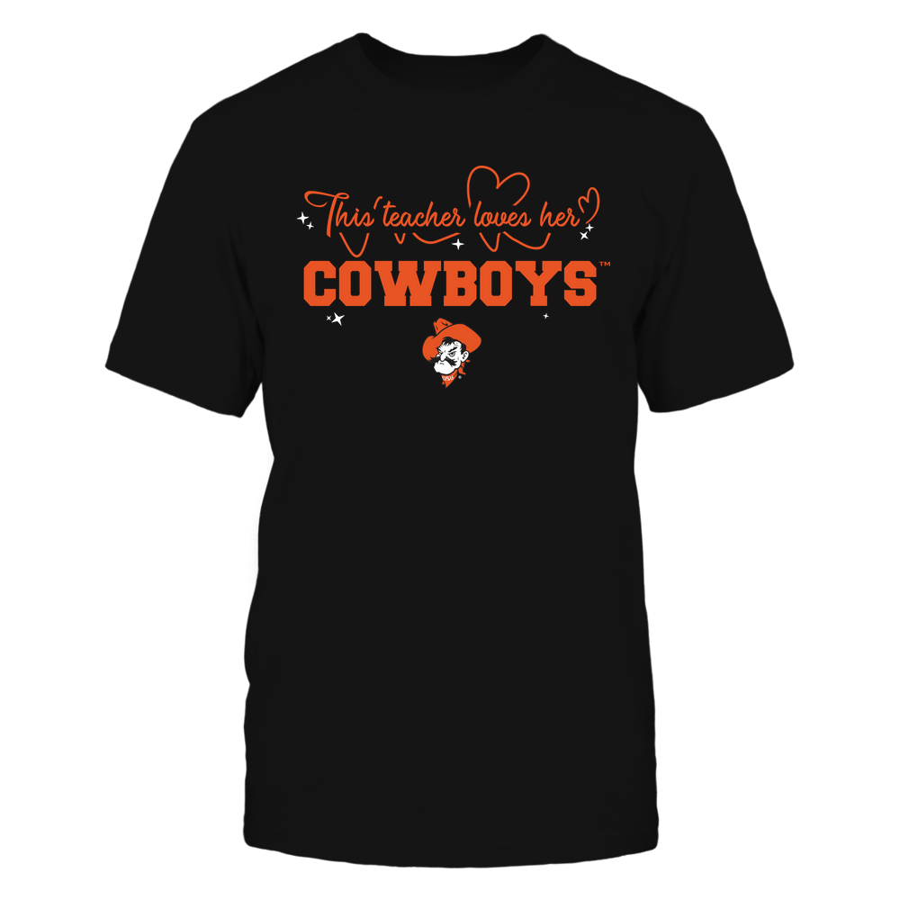 Oklahoma State Cowboys - This Teacher Loves Her Team - Heart Beat - Team Front picture