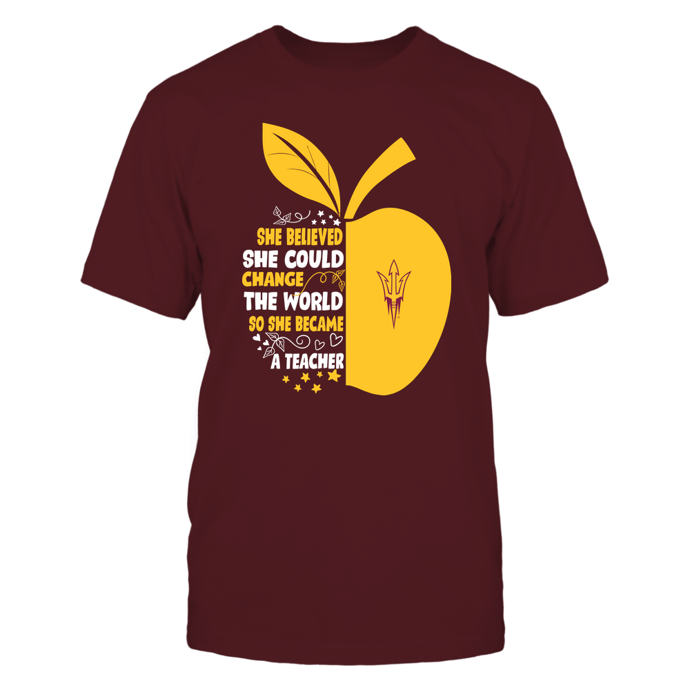 Arizona State Sun Devils - Teacher - She Believed She Could Change The World - Half Apple Front picture