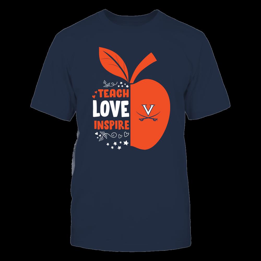 Virginia Cavaliers - Teacher - Teach Love Inspire - Half Apple Front picture