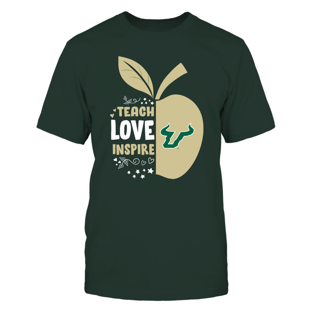 South Florida Bulls - Teacher - Teach Love Inspire - Half Apple Front picture