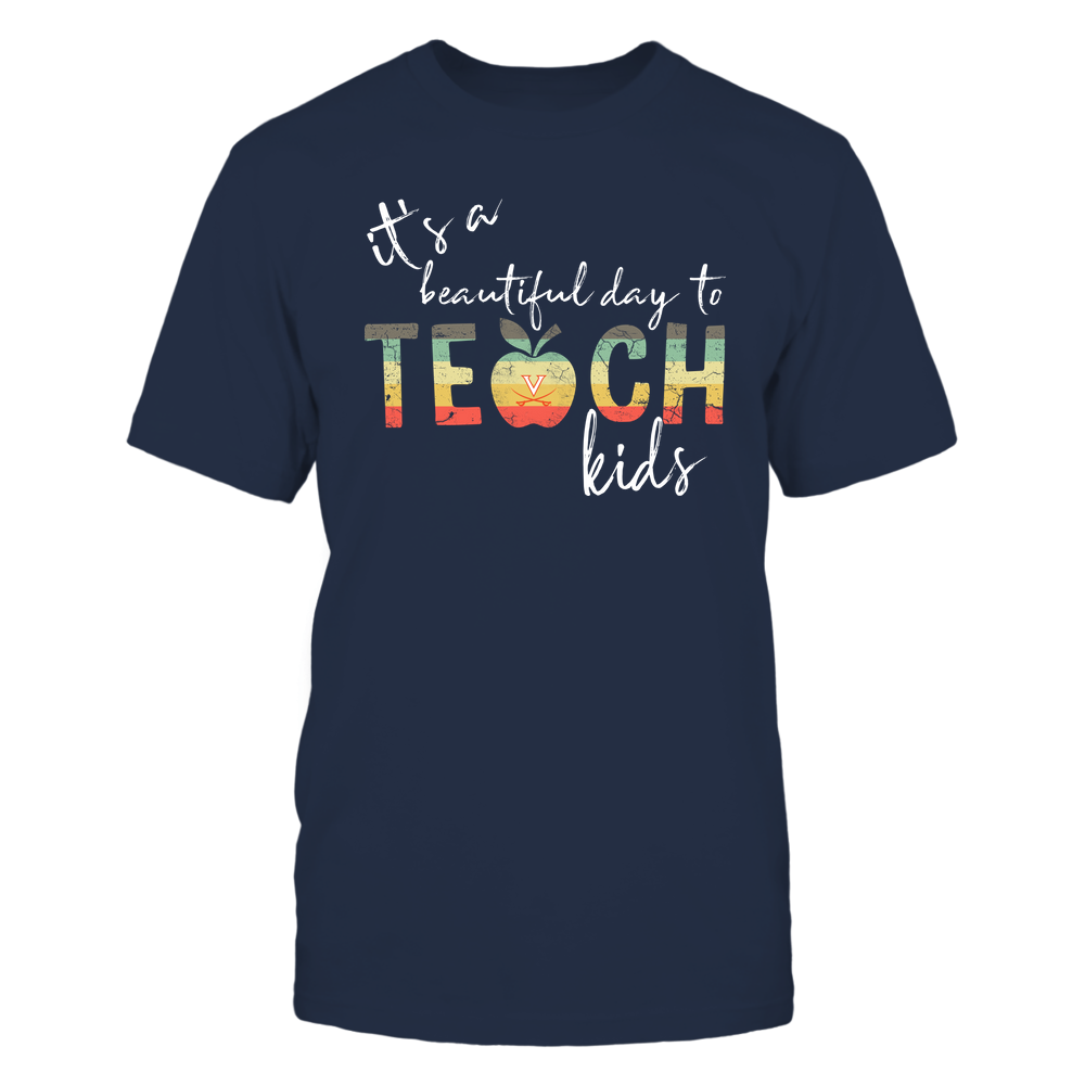Virginia Cavaliers - Teacher - It's A Beautiful Day To Teach - Vintage Apple Front picture