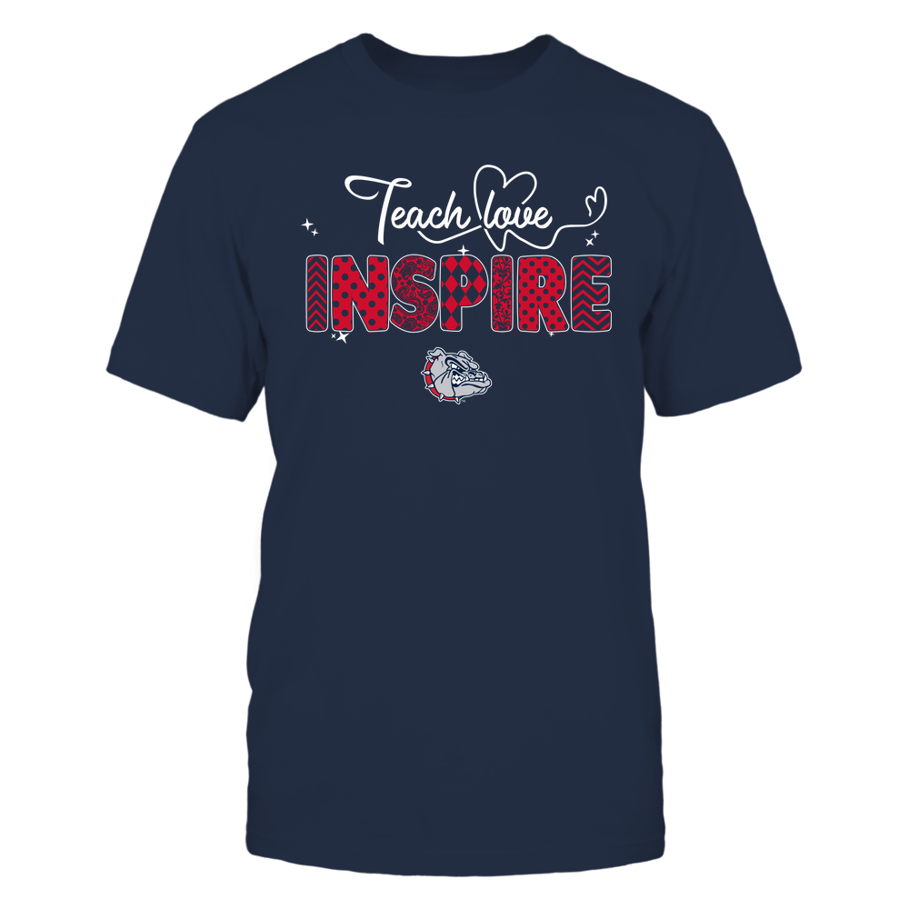 Gonzaga Bulldogs - Teacher - Teach Love Inspire - Heart Beat Pattern Front picture
