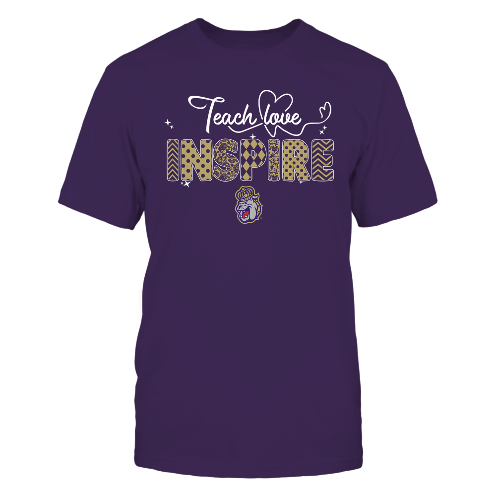 James Madison Dukes - Teacher - Teach Love Inspire - Heart Beat Pattern Front picture