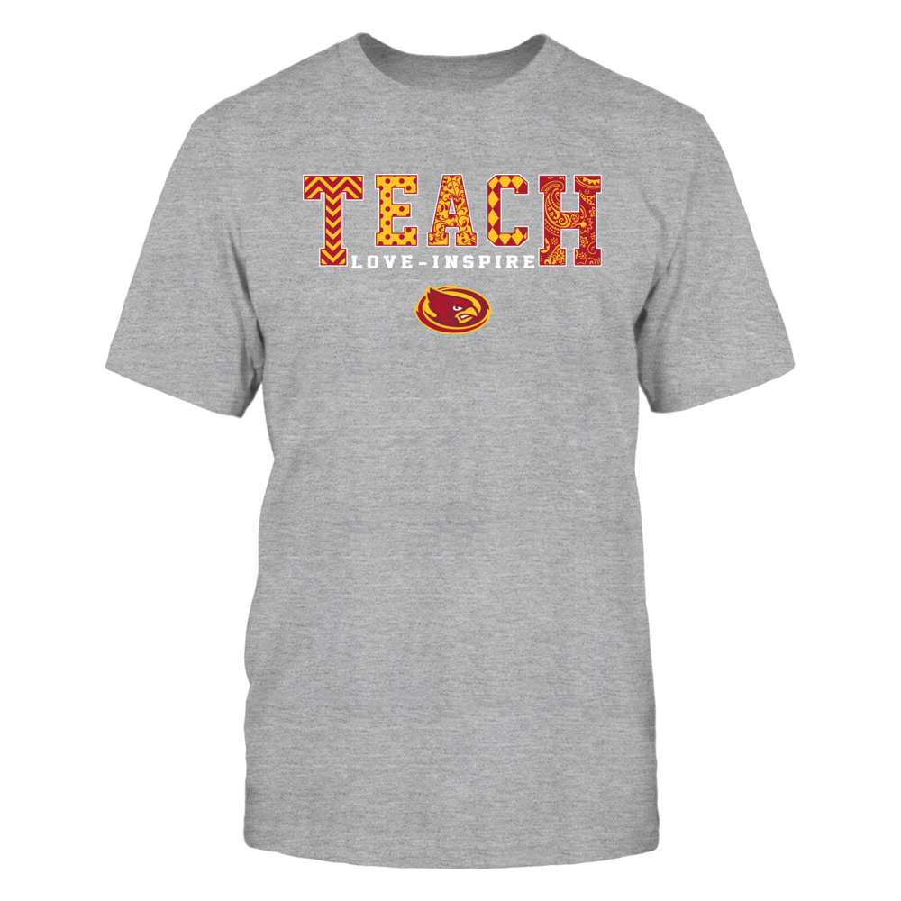 Iowa State Cyclones - Teach-Love-Inspire-Slogan-Pattern-Grey-Shirt-IF17-IC17-DS45 Front picture