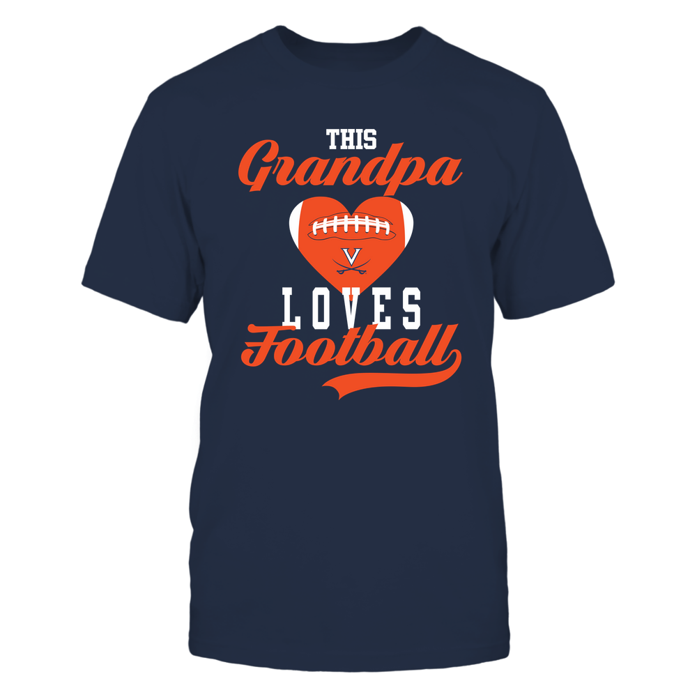 Virginia Cavaliers - Grandpa Loves Football - Football Heart Front picture