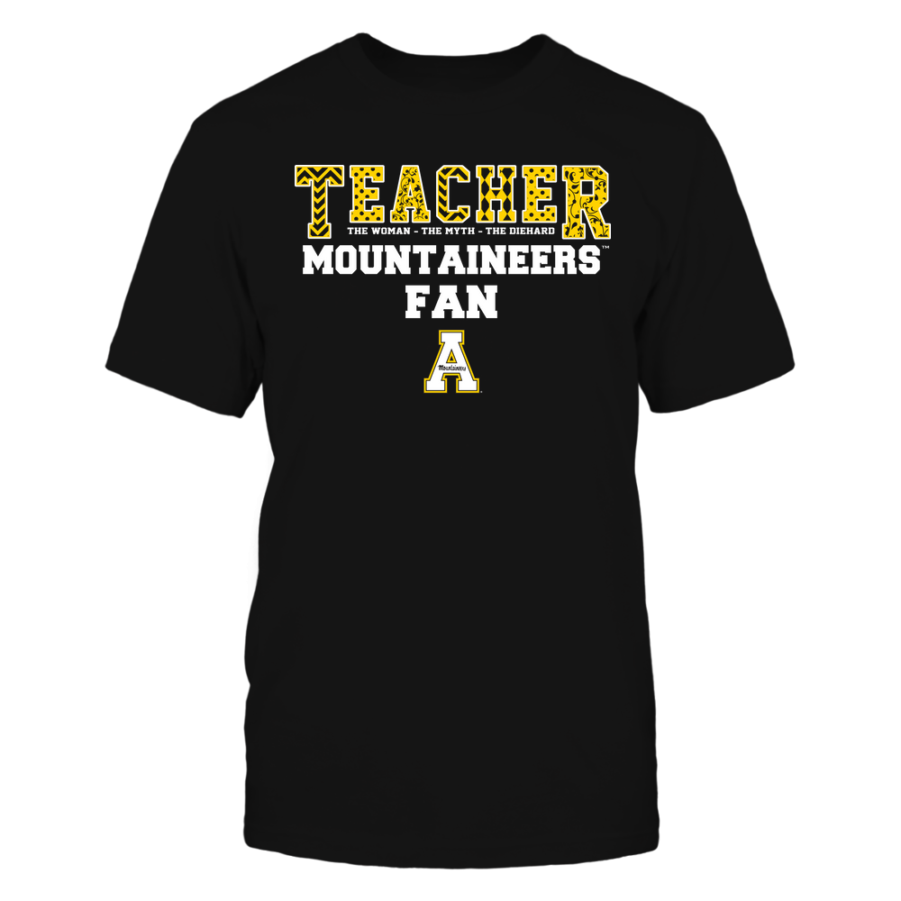 Appalachian State Mountaineers - Teacher - The Woman The Myth The Legend - Slogan Pattern Front picture