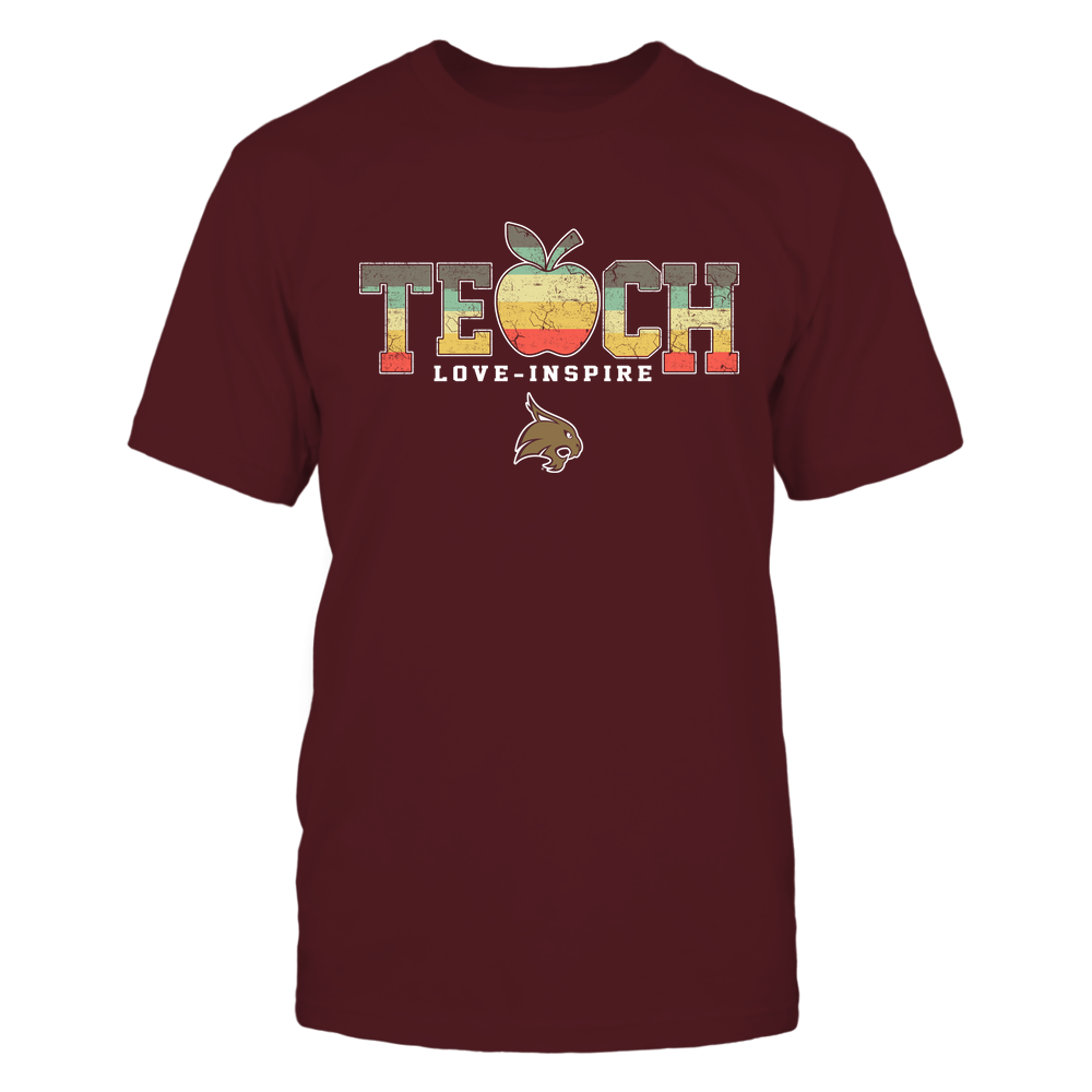 Texas State Bobcats - Teach-Love-Inspire-Apple-Vintage-Graphic-IF13-IC13-DS64 Front picture