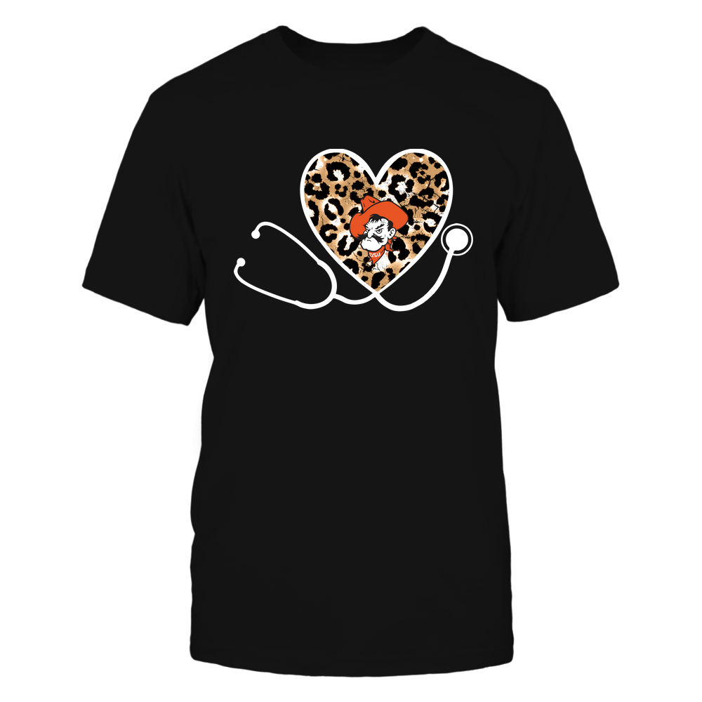 Oklahoma State Cowboys - Nurse-Heart-Stethoscope-Leopard-Pattern-IF13-IC13-DS85 Front picture
