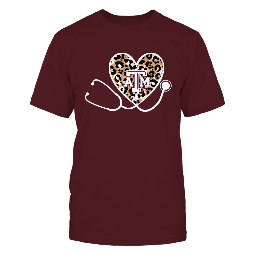 Texas A&M Aggies - Nurse-Heart-Stethoscope-Leopard-Pattern-IF13-IC13-DS85 Front picture