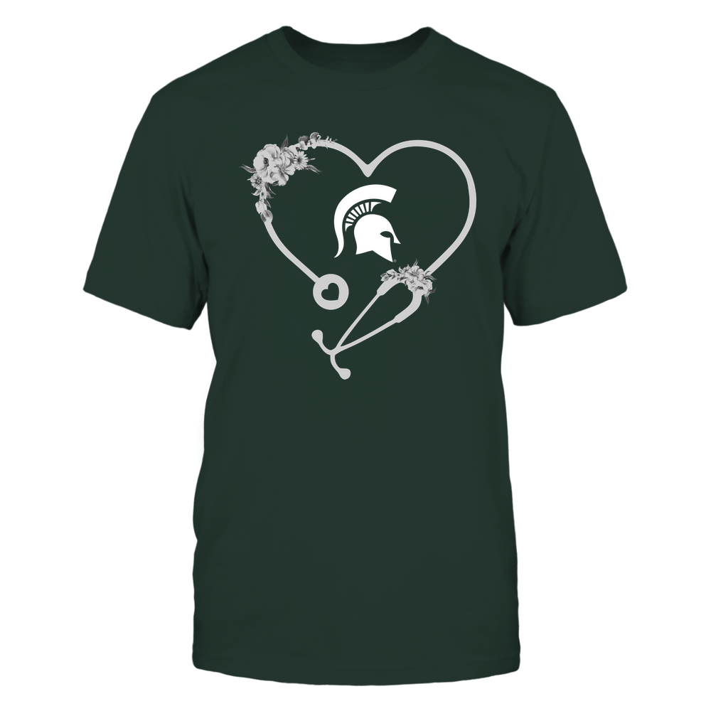 Michigan State Spartans - Nurse - Heart Stethoscope with Flowers Front picture