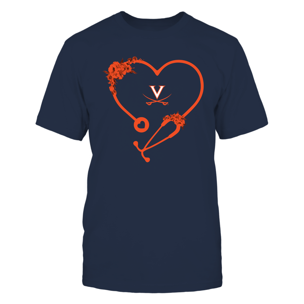 Virginia Cavaliers - Nurse - Heart Stethoscope with Flowers Front picture