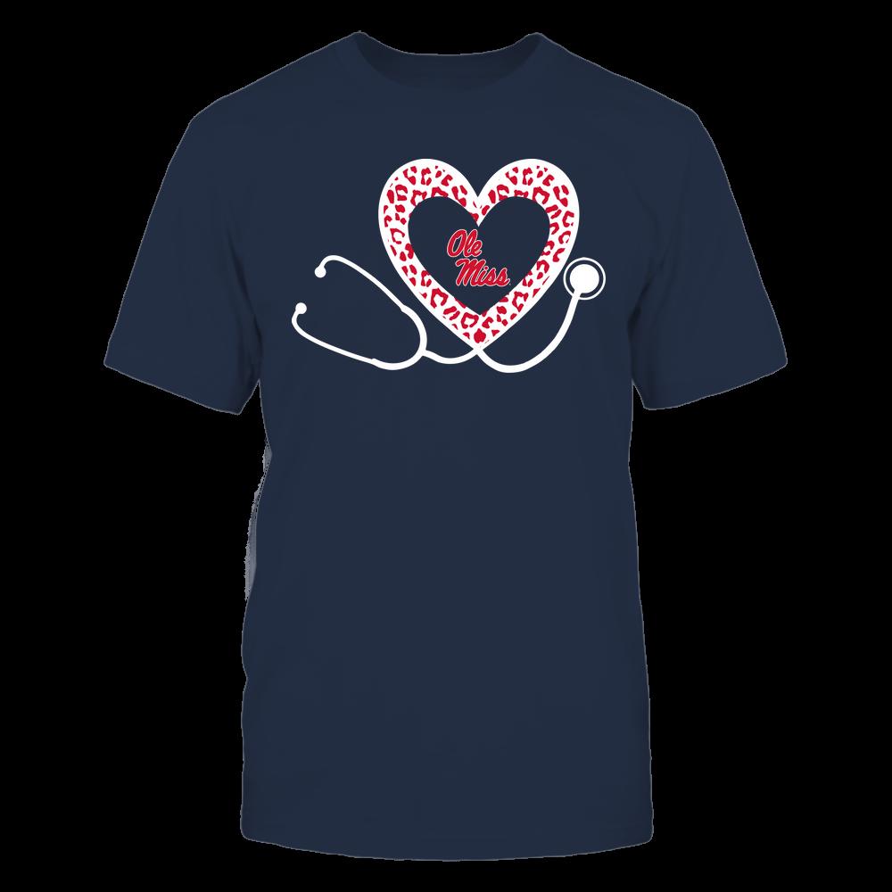 Ole Miss Rebels - Nurse - Heart Stethoscope - Leopard Pattern Front picture