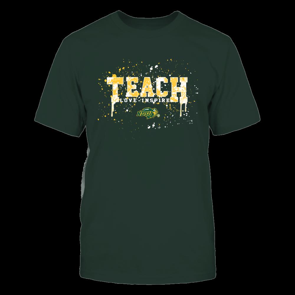 North Dakota State Bison - Teacher - Teach Love Inspire - Color Drop Watercolor Front picture