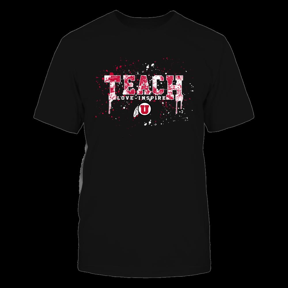 Utah Utes - Teacher - Teach Love Inspire - Color Drop Watercolor Front picture