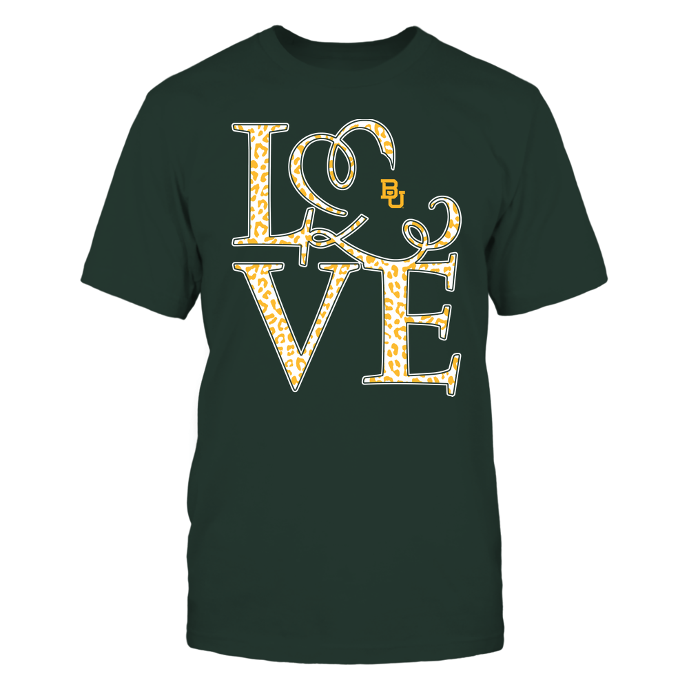 Baylor Bears - Stacked Love - Swirly Heart - Leopard Pattern Front picture