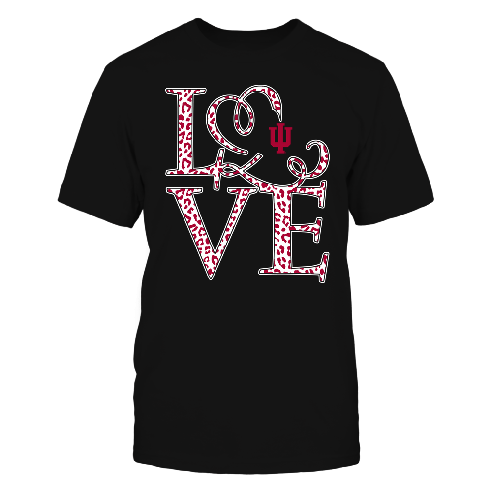 Indiana Hoosiers - Stacked Love - Swirly Heart - Leopard Pattern Front picture