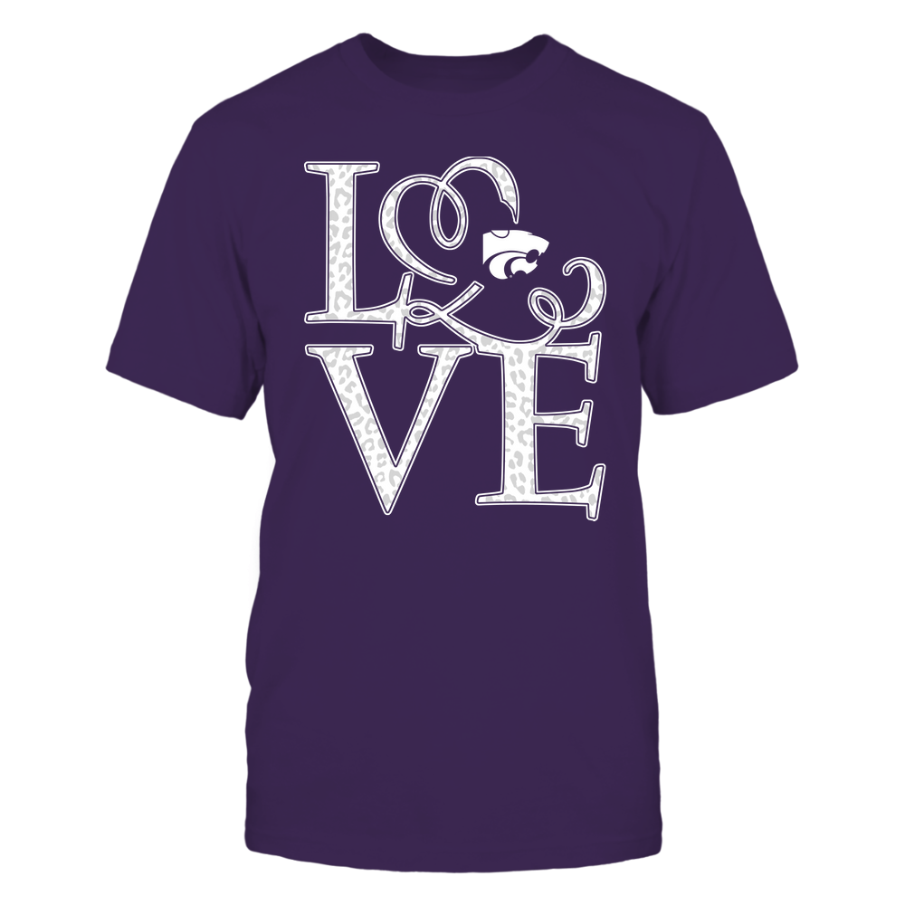 Kansas State Wildcats - Stacked Love - Swirly Heart - Leopard Pattern Front picture
