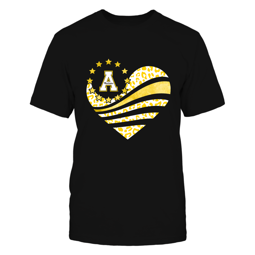 Appalachian State Mountaineers - Galaxy Flag Heart - Leopard Pattern Front picture