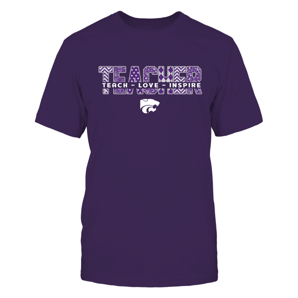 Kansas State Wildcats - 19100410062 - Teacher - Teach Love Inspire Cut Through Patterned - IF13-IC13-DS27 - APCX Front picture