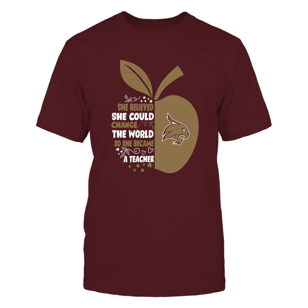 Texas State Bobcats - Teacher - Beautiful Day To Teach - Half Apple - IF32-IC32-DS75 Front picture