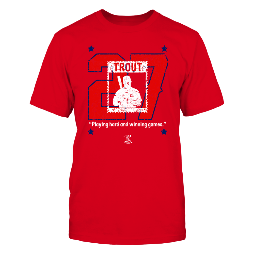 """Mike Trout """"27"""" baseball jersey distressed t-shirt design with """"Playing hard and winning games"""" inspirational quote. Front picture"""