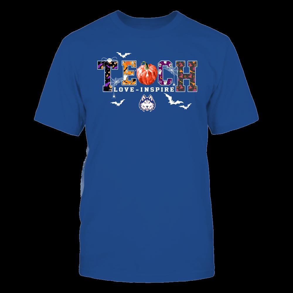 Houston Baptist Huskies - Halloween - Teach Love Inspire - Pumpkin Slogan Front picture