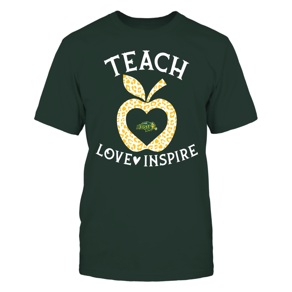 North Dakota State Bison - Teacher - Teach Love Inspire - Leopard Apple Front picture