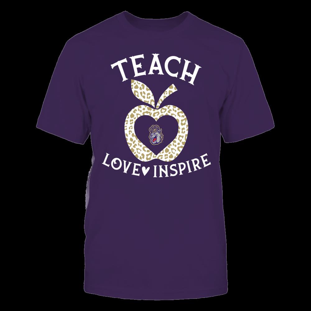 James Madison Dukes - Teacher - Teach Love Inspire - Leopard Apple Front picture