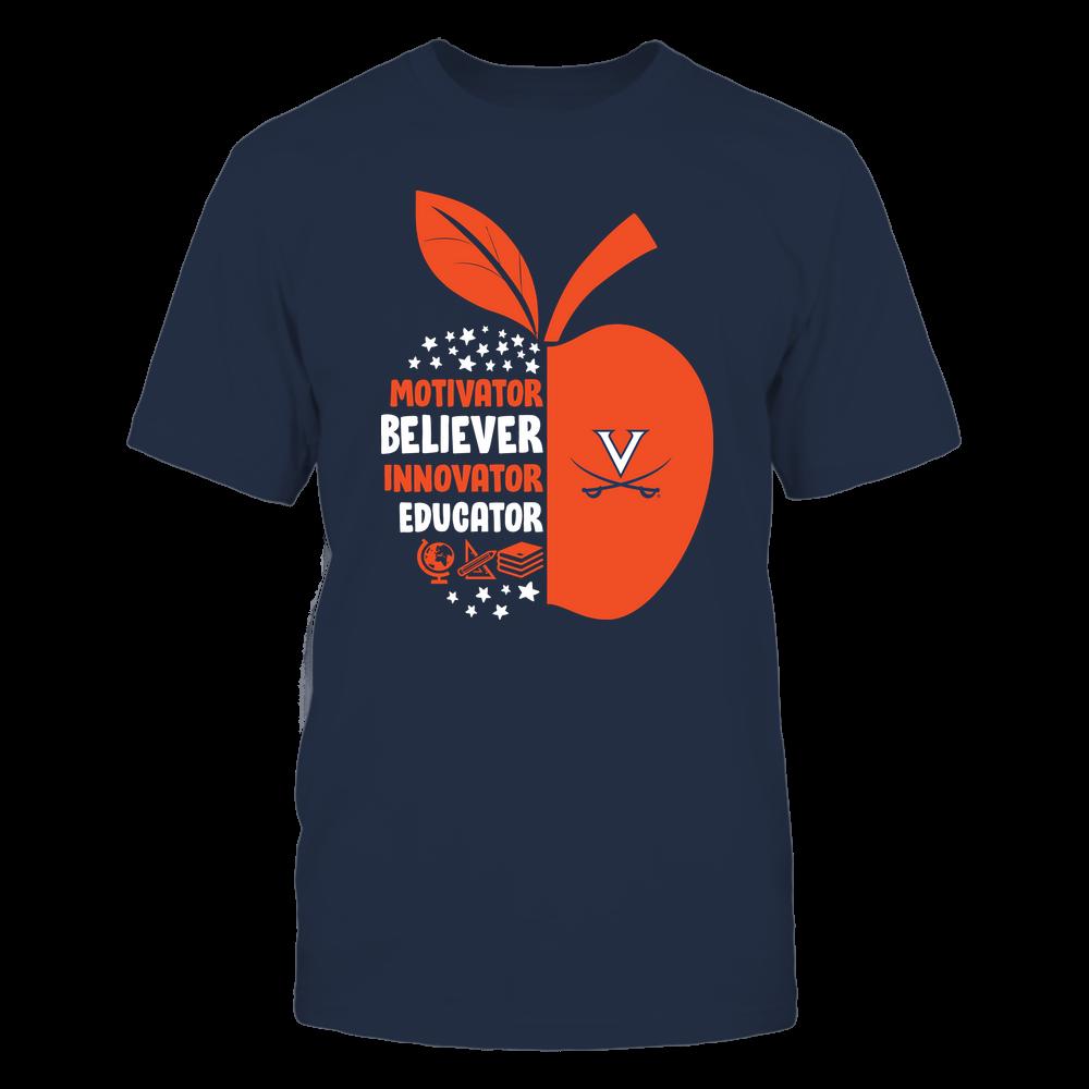 Virginia Cavaliers - Teacher - Half Apple - Motivator Believer Innovator Educator - Team Front picture