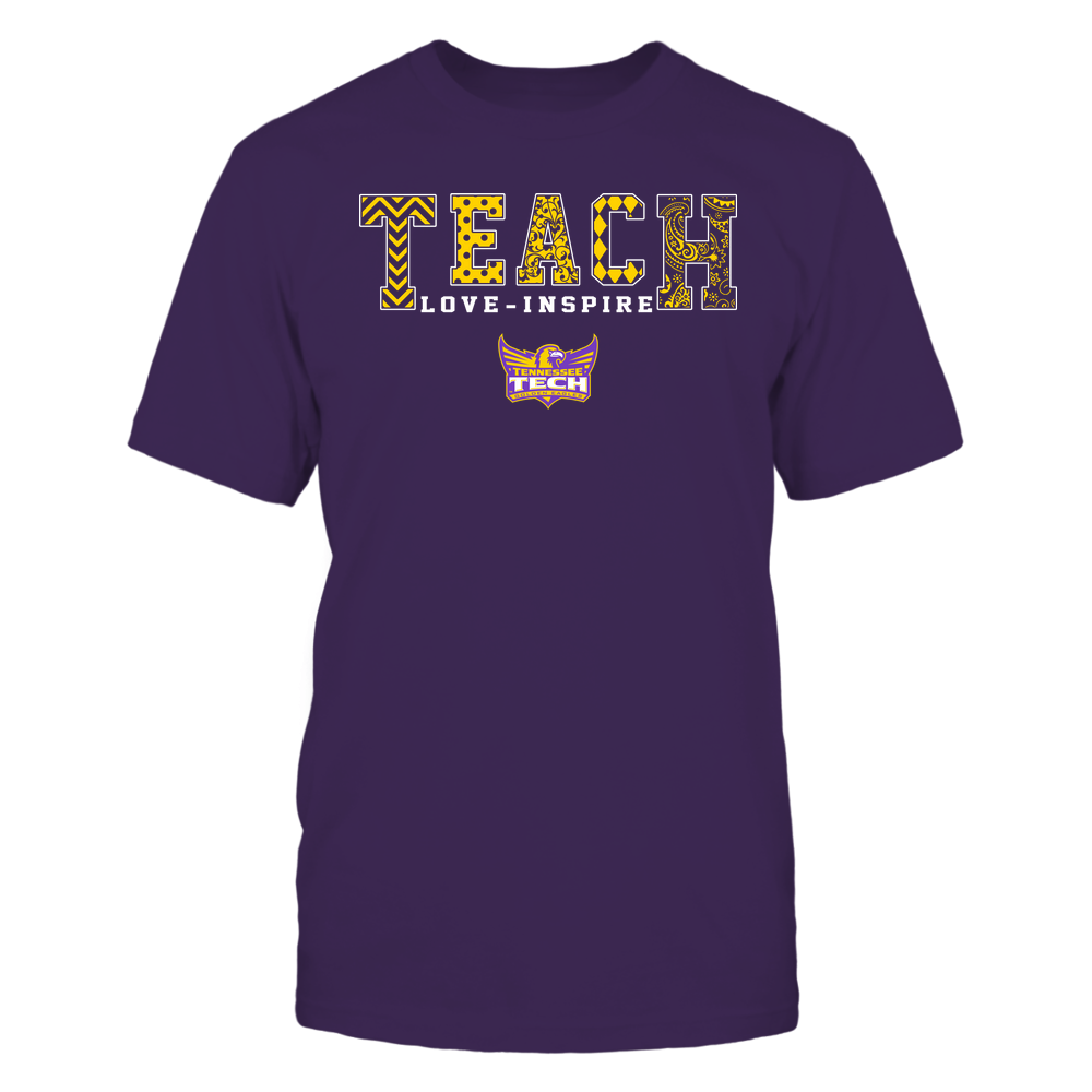 Tennessee Tech Golden Eagles - Teach Love Inspire - Slogan Pattern - Team Front picture