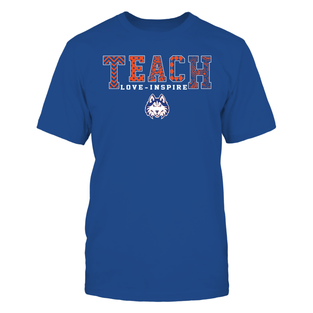 Houston Baptist Huskies - Teach Love Inspire - Slogan Pattern - Team Front picture