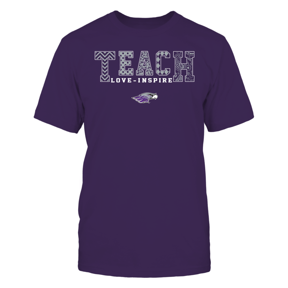 Wisconsin-Whitewater Warhawks - Teach Love Inspire - Slogan Pattern - Team Front picture