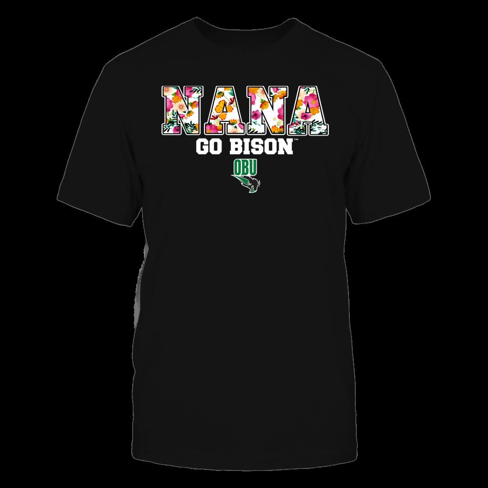 Oklahoma Baptist Bison - Nana - Floral Pattern - Slogan Front picture