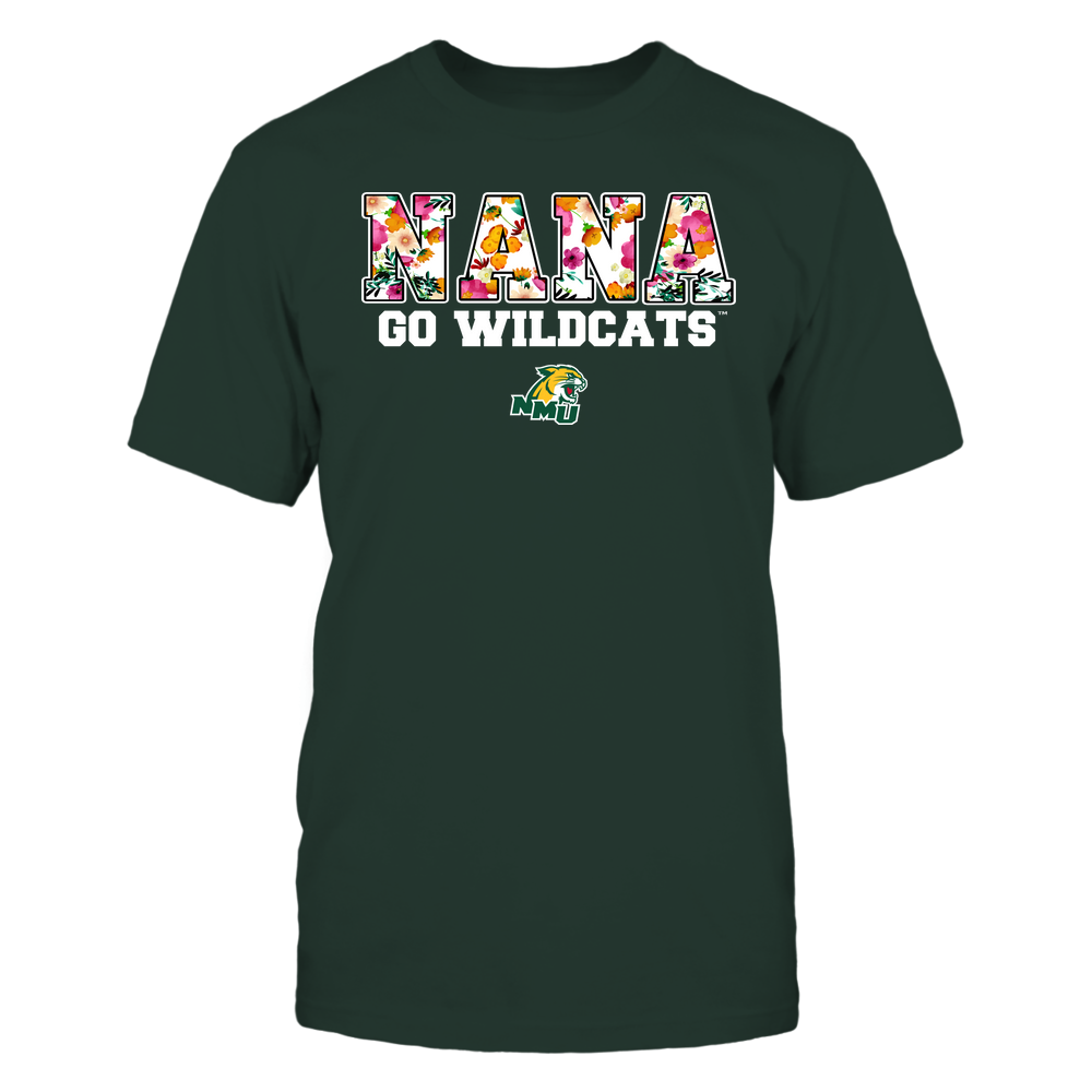 Northern Michigan Wildcats - Nana - Floral Pattern - Slogan Front picture