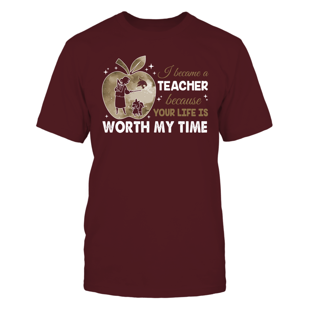 Texas State Bobcats - Teacher - I Became A Teacher Because Your Life Is Worth My Time - Apple Gradient Front picture