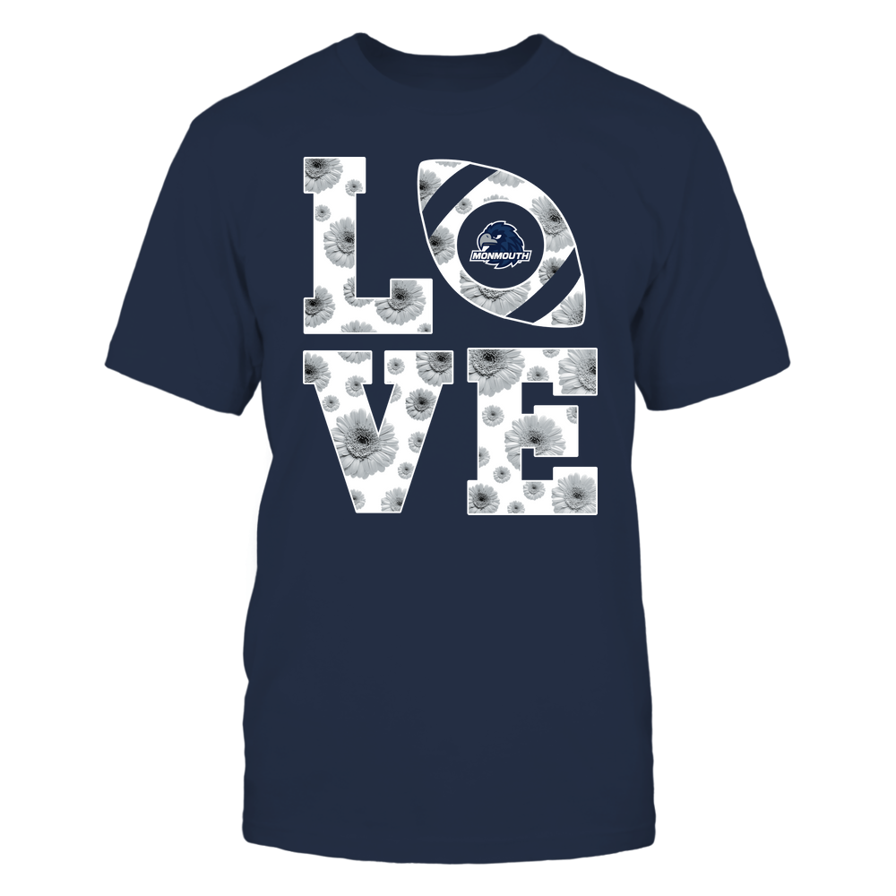 Monmouth Hawks - Stacked - Love Football Daisy Pattern - Team Front picture