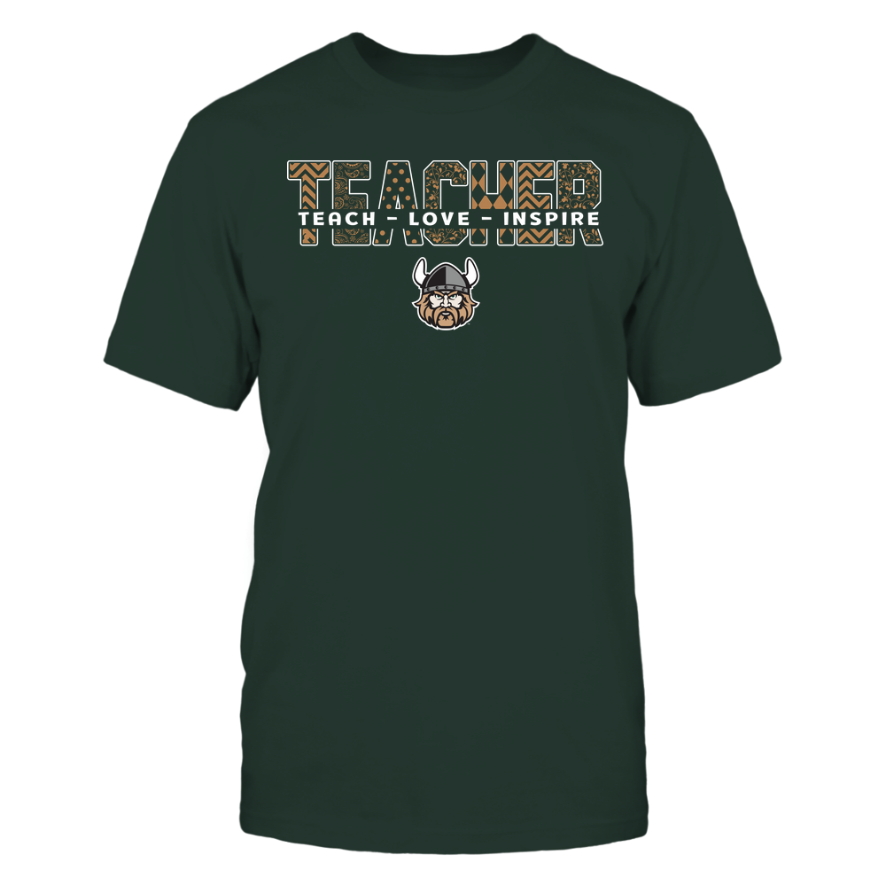 Cleveland State Vikings - Teacher - Teach Love Inspire Patterned - Cut Through Front picture
