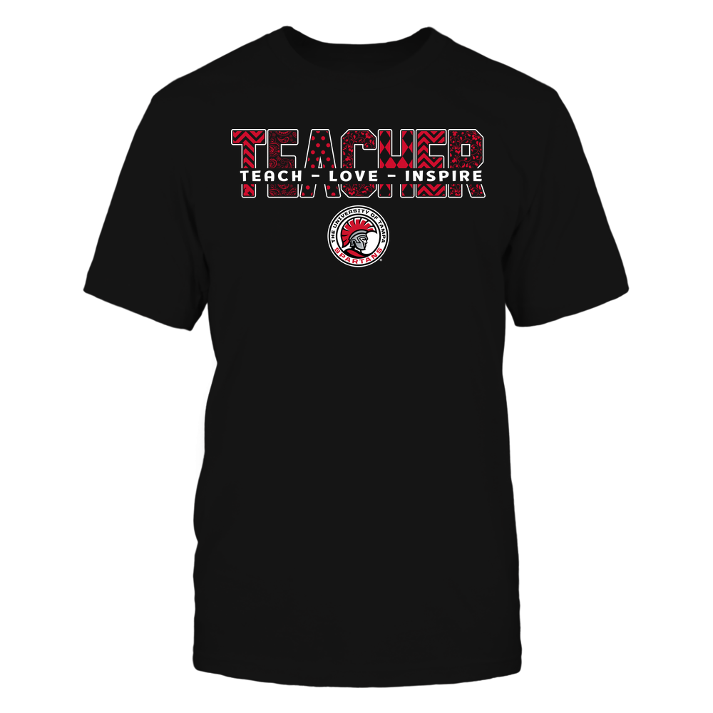 Tampa Spartans - Teacher - Teach Love Inspire Patterned - Cut Through Front picture