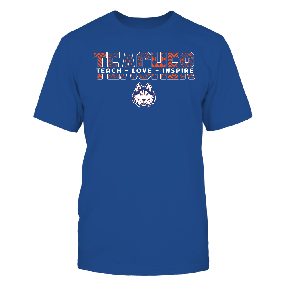 Houston Baptist Huskies - Teacher - Teach Love Inspire Patterned - Cut Through Front picture