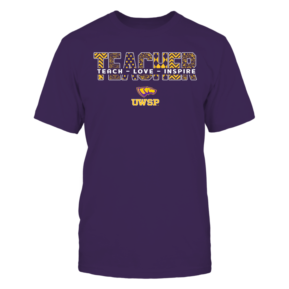 Wisconsin-Stevens Point Pointers - Teacher - Teach Love Inspire Patterned - Cut Through Front picture