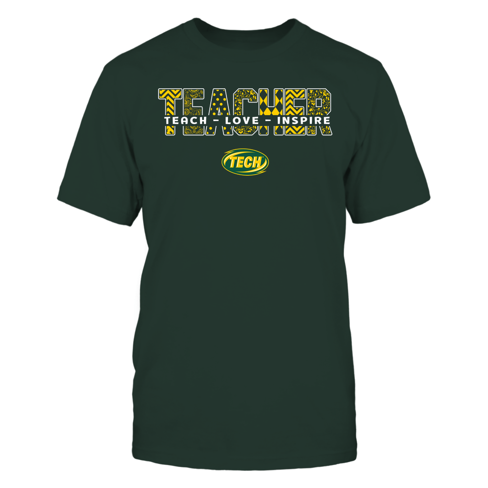 Arkansas Tech Golden Suns - Teacher - Teach Love Inspire Patterned - Cut Through Front picture